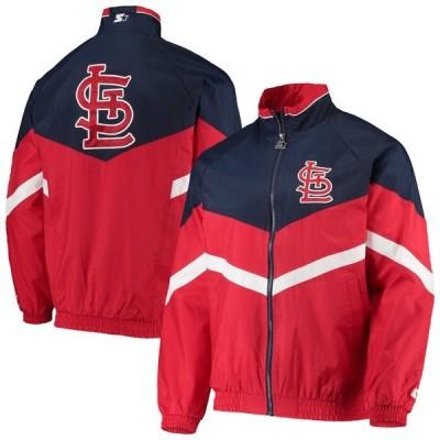 スターター ジャケット・ブルゾン アウター メンズ St. Louis Cardinals Starter The Bench Coach Full-Zip Jacket Red/Navy