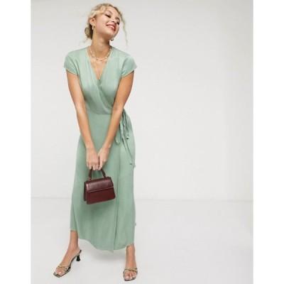 アンドアザーストーリーズ レディース ワンピース トップス & Other Stories satin short sleeve midaxi dress in dusty green