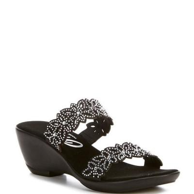 オネックス レディース サンダル シューズ Stacey Banded Floral Embellished Leather Slide Sandals