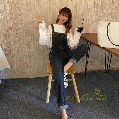デニムサロペット オーバーオール ジーンズ デニムパンツ オールインワン ボトムス ロング ゆったり 着痩せ 韓国ファッション ストレート 20代30代40代 上品