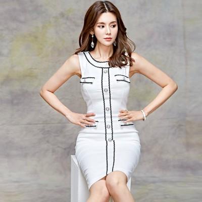 【送料無料】ノースリーブ ホワイト ボタン付き タイトドレス タイトワンピ ワンピース ハイウエスト スリム 上品 袖なし セクシー 肌見せ 上品 膝丈 白 韓国 韓国ファッション 韓国スタイル キャ