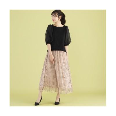 (Rose Tiara(L SIZE)/ローズティアラ エルサイズ)チュールドットフレアスカート/レディース ピンク