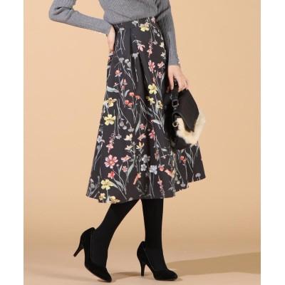 (QUEENS COURT(LSIZE)/クイーンズコートオオキイサイズ)【大きいサイズ】フラワープリントスカート/レディース ブラック
