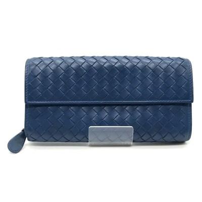 ◆BOTTEGA VENETA ボッテガ ヴェネタ 長財布 ウォレット コンチネンタル イントレチャート メンズ ブルー系 服飾小物 B1378