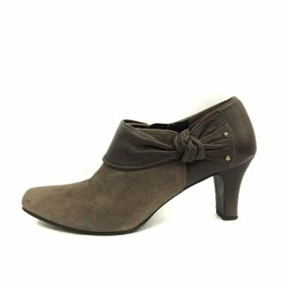 【中古】ダイアナ WELL FIT ブーツ ショート ブーティ スクエアトゥ レザー 23.5EEcm グレー /YO23 レディース