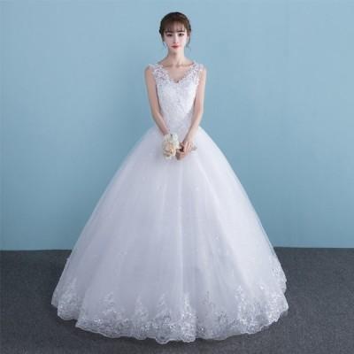 ロングドレス 演奏会ドレス パーティードレス ウェディングドレス ドレス 大きいサイズ カラードレス イブニングドレス お呼ばれ 同窓会[ホワイト]