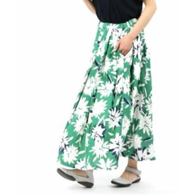 ナチュラルランドリー ロングスカート タックギャザースカート フラワースカート NATURAL LAUNDRY 7201S-002  2020新作 送料無料    レデ