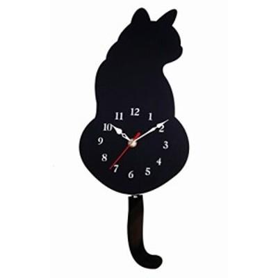 Smiti しっぽが揺れる 猫の 振り子時計 掛け時計 黒猫