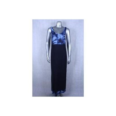 エレントレイシー ドレス ワンピース フォーマル Ellen Tracy ブルー Plus サイズ ノースリーブ Maxi プリント ドレス Sz XL 99 LAFO