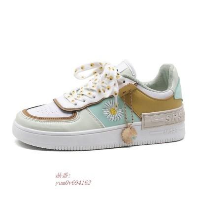 スニーカー 靴 レトロ  花柄 デイジー ガーリー かわいい 韓国 オルチャン アメカジ チャーム シューズ 原宿系 ストリート