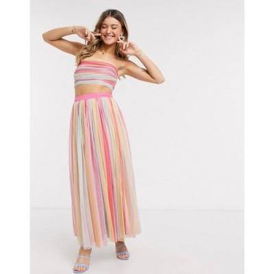 アナヤ Anaya レディース ロング・マキシ丈スカート スカート With Love midaxi prom skirt in stripe print マルチカラー