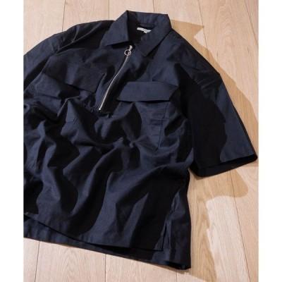シャツ ブラウス 【2】綿麻ストレッチ ハーフZIP ビッグシルエット 半袖ワークシャツ