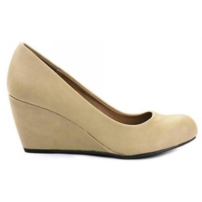 シティークラッシフィード レディース パンプス T-H Sleek Simple Formal Faux Nubuck Wedge Heel Dress Pump Shoes