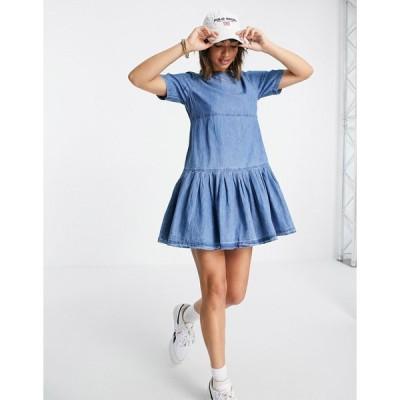 エイソス ミディドレス レディース ASOS DESIGN soft denim smock t-shirt dress in midwash エイソス ASOS ブルー 青