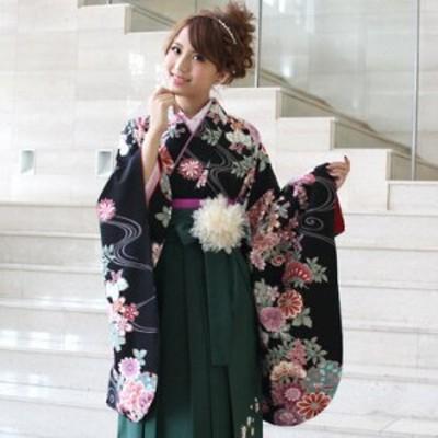 袴 レンタル 卒業式 袴セット 卒業式袴セット2尺袖着物&袴 フルセットレンタル  安い  黒 上品
