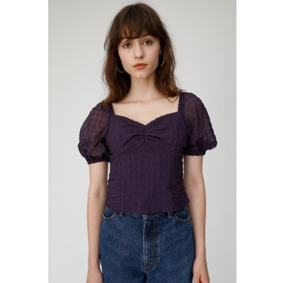 マウジー moussy SHEER PUFF SLEEVE BLOUSE (パープル)