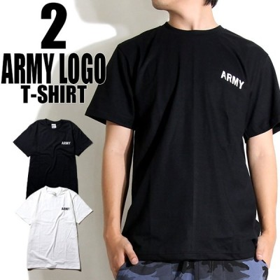 Tシャツ メンズ  半袖 ミリタリー風 ARMYロゴ アーミーTシャツ 2カラー Sサイズ Mサイズ Lサイズ XLサイズ XXLサイズ BLACK WHITE