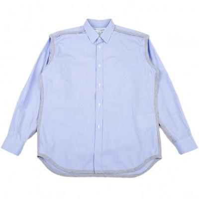 コムデギャルソン シャツCOMME des GARCONS SHIRT 天竺パイピングインサイドアウトシャツ 水色S 【メンズ】