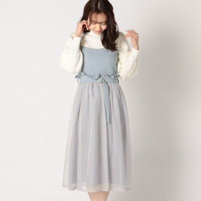 ミッシュマッシュ MISCH MASCH 異素材使いジャンパースカート (ライトブルー)