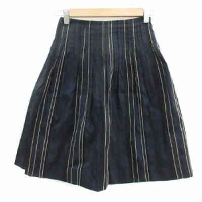 【中古】トゥモローランドコレクション スカート フレア ギャザー ストライプ柄 36 マルチカラー 紺 レディース