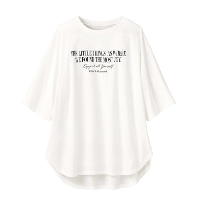 ジーラ GeeRA プリントチュニックTシャツ (シンプルロゴホワイト)