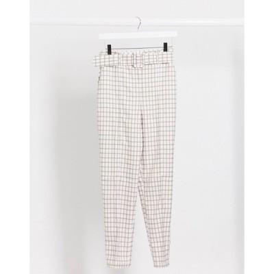 エイソス レディース カジュアルパンツ ボトムス ASOS DESIGN high waist belted cigarette pants in pastel gingham