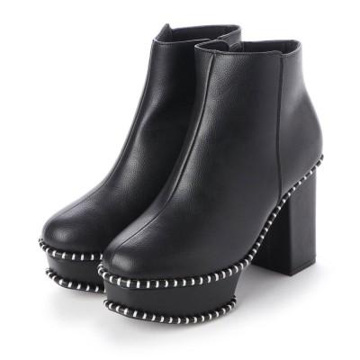 イタリコ ITALICO 変形 厚底ステッチブーツ (ブラック)