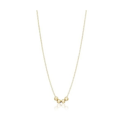 """10K Gold Necklace with 3 Spacer Beads, 18"""""""