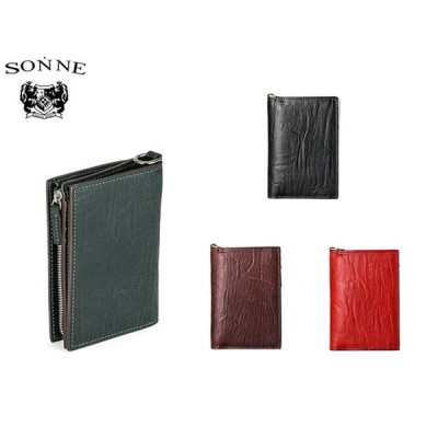 SONNEゾンネ メンズ バケッタレザー スマート 二つ折り財布 SOD008B 6360260 ueni51