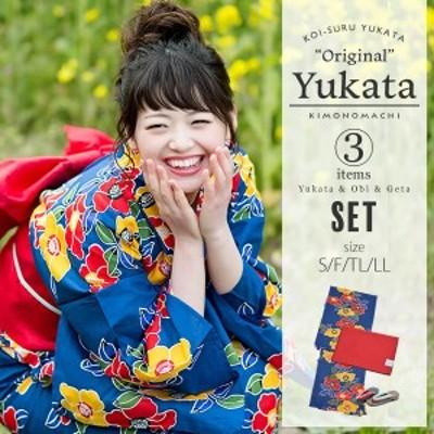 京都きもの町オリジナル 浴衣3点セット「青色 椿」レディース S、フリー、TL、LL お仕立て上がり浴衣 女性浴衣 綿浴衣