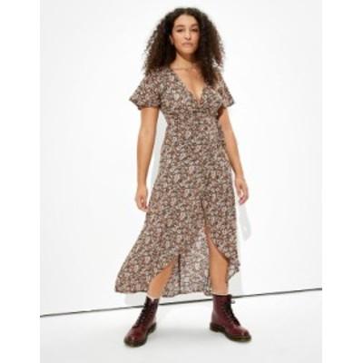 アメリカンイーグル レディース ワンピース トップス AE Printed Wrap Maxi Dress Black
