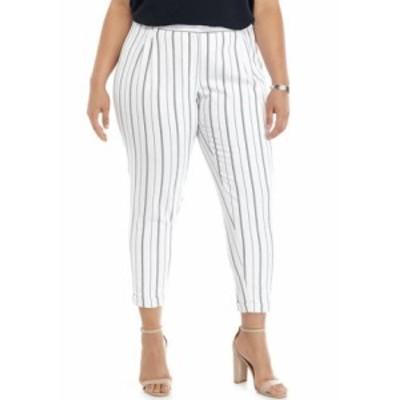 カルバンクライン レディース カジュアルパンツ ボトムス Plus Size Striped Slim Leg Pants White/Navy