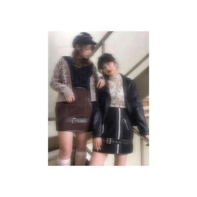ムートンスカート (ブラック)