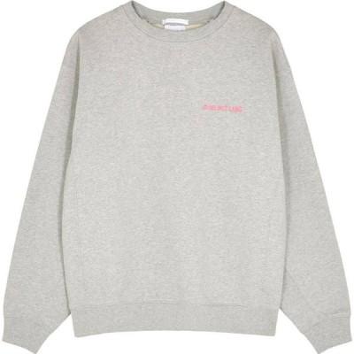ヘルムート ラング Helmut Lang レディース スウェット・トレーナー トップス grey logo-embroidered cotton sweatshirt Grey