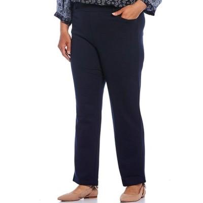 イントロ レディース カジュアルパンツ ボトムス Plus Size Stella Double Knit Slim Straight Leg Pull-On Pants Navy Beats