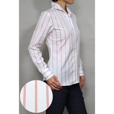 レディースシャツブラウス レディースワイシャツ レディース シャツ ビジネス 長袖 ホワイト 白 綿100% ストライプ イタリアンカラー 日本製 トップス