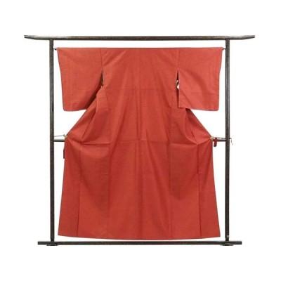 リサイクル着物 紬 正絹赤地先染亀甲柄袷紬着物未着用品