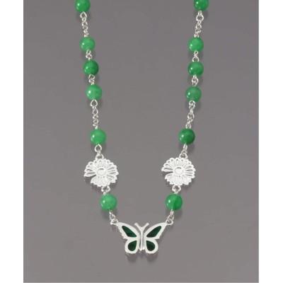 アンフォロー 【STUGAZI/スガジ】Emerald Butterfly Angel necklace シルバー フリー