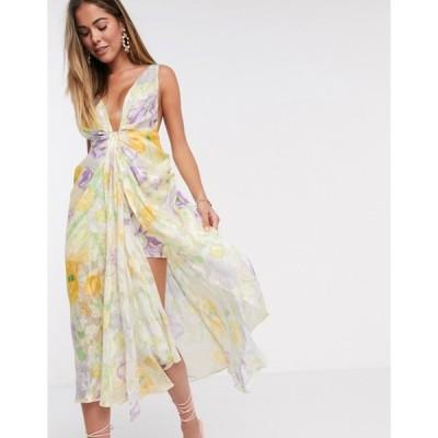 エイソス レディース ワンピース トップス ASOS EDITION cami plunge midi dress in burnout floral bloom print