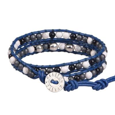 KELITCH ブルー レザー 革紐 2重巻き ブレスレット ラップ ホワイト ターコイズ 瑪瑙 チャーム 腕輪