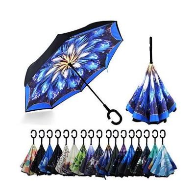 YOKITOMO 長傘 逆さ傘 丈夫 撥水 内外2枚の布の構成で耐風 熱中症対策 完全遮光 遮熱効果 閉じると自立可能 晴雨