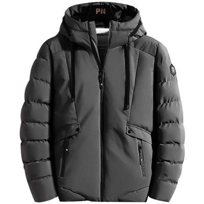 メンズ 秋冬 ジャケット 厚手 中綿 暖かい 防風 防寒 アウトドア 秋冬 大きいサイズ 中綿 長袖 無地 アウター コート フード付き 灰 XL