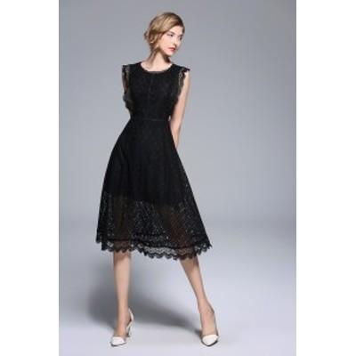 ドレス ひざ下丈 オケージョン レース スカラップ ノースリーブ 上品 きれいめ パーティー 夏 黒 レディース 大きいサイズ #2120