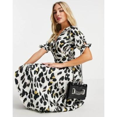 アックスパリ レディース ワンピース トップス AX Paris midi wrap dress in animal Cream
