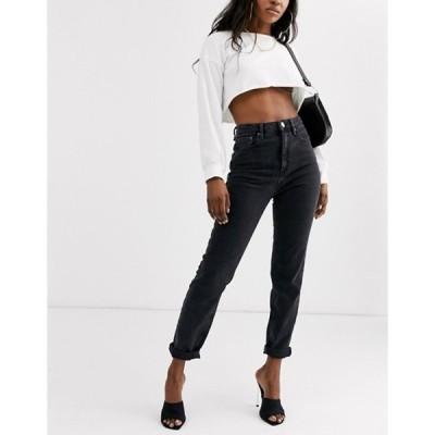 エイソス レディース デニムパンツ ボトムス ASOS DESIGN high rise farleigh 'slim' mom jeans in washed black