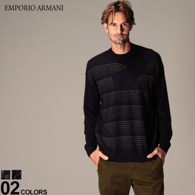 エンポリオ アルマーニ メンズ ニット EMPORIO ARMANI ウール イーグル ロゴ ボーダー クルーネック ニットソー ブランド トップス セーター EA6H1MX91MIUZ