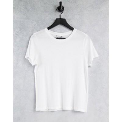 モンキ Monki レディース Tシャツ トップス Simba organic cotton t-shirt in white ホワイト