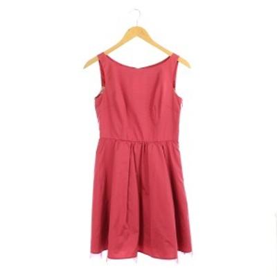 【中古】アプワイザーリュクス リボンノースリーブワンピース ミニ ドレス 1 ピンク /MY ■OS ■SH レディース