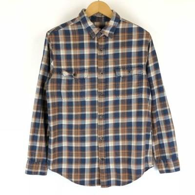 古着 st.john's bay ヘビーフランネルシャツ チェック柄 ブルー系 メンズS 中古 n010250