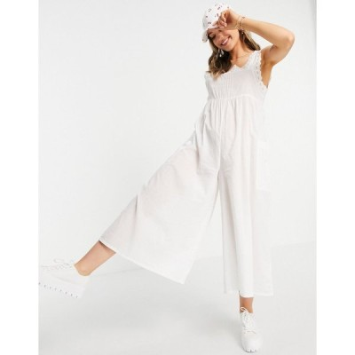 エイソス ロンパース ジャンプスーツ レディース ASOS DESIGN broderie trim jumpsuit in white エイソス ASOS ホワイト 白